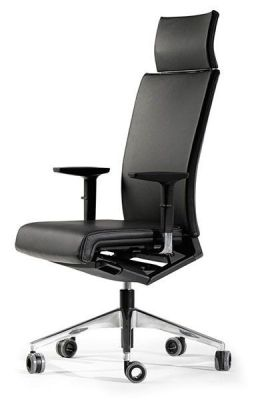 Designer Winner Manager Chair Upholstered In Black Leather With Headrest, Chrome Base