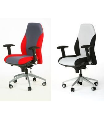 GT Office Swivel Chairs Dark Grey-red And Light Grey - Black Fully Adjustable With Aluminium Spider Base And Castors