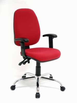 Red Daisy Home-office Chair With T Arms, Silver Base And Castors