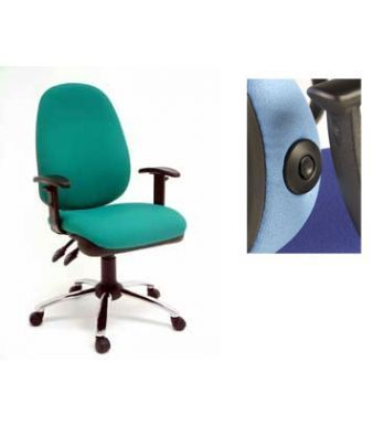Eric Swivel Chair In Green And Pale Blue With Lumbar Support Pump