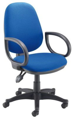 Sonor Blue Swivel Office Chair With Fixed Arms