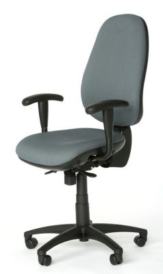 Kinetic Home Office Chair In Grey Fabric With Armrests And Castors
