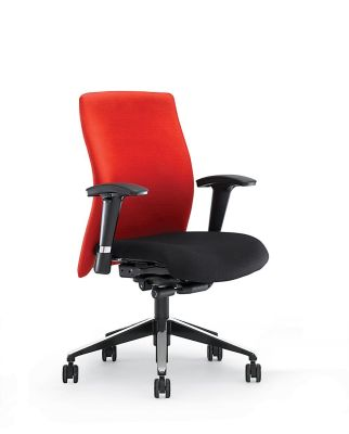 Flame Red And Black Desk Chair With Armrests And Spider Base