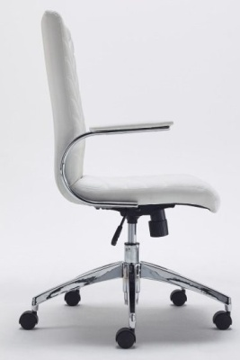Baresi Executive White Leather Chair Side View