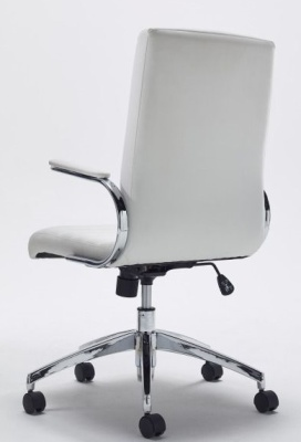Berasi White Leather Exec Chair Rear View