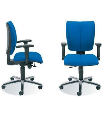 Cinque Swivel Chairs In Blue Upholstery With Arm Rests And Aluminium Base