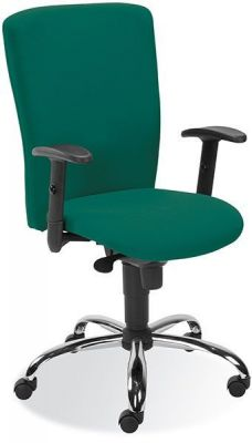 Bolero Operators Chair In Dark Green With Silver Base And Black Armrests