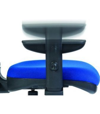 Height Adjustable Arm Fitted To Swivel Chair In Blue Fabric Seat