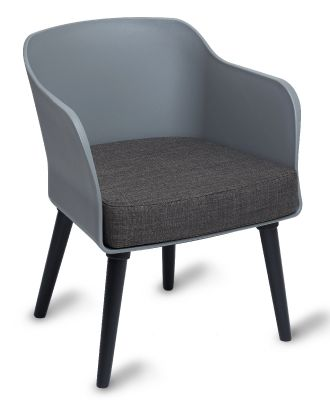 Polly Tub Chair Grey Shell Black Legs