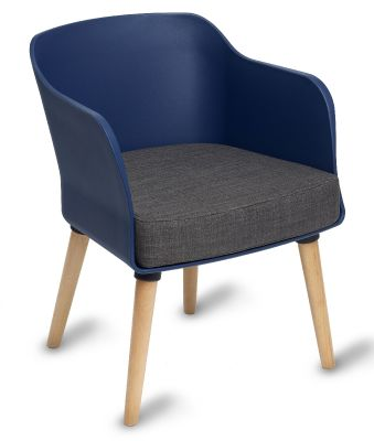 Polly Tub Chair Navy Shell Natural Legs