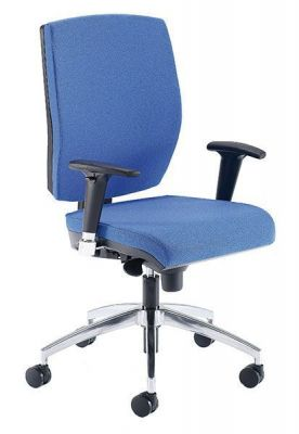 Quatro Computer Chair With Adjustable Arms And Chrome Base In Blue Upholstery