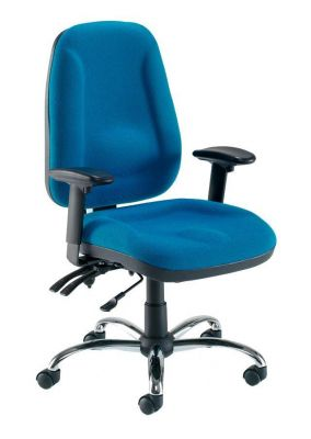 Swivel Computer Chair In Blue With Contoured Fatigue Limiting Seat