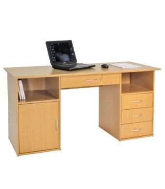 Merrywood Beech Home Office Computer Desk With Integral Three Drawer Pedestal And Cupboard