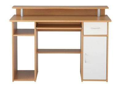 Albany Computer Workstation With Cpu Compartment, Printer Shelf, Keyboard Shelf In Beech With White Drawer Front And Cupboard Door