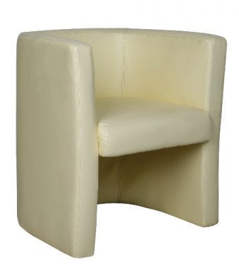 Bk Cream Leather Tub Chair