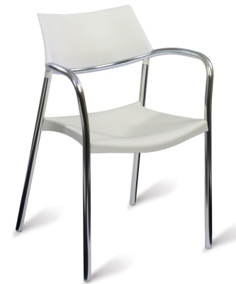 Spydrax White Poly And Aluminium Chair
