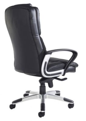 Back Black Leather High Back Swivel Chair