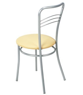 Argento Bistro Chair With A Cream Vinyl Seat