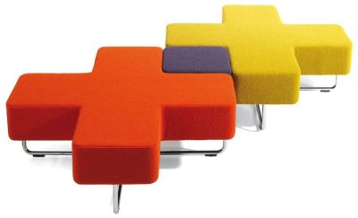 Jaks Criss Cross Modular Seating In Red Cross, Yellow Cross And Dark Blue Stool