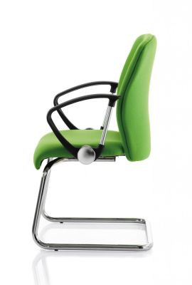 Poise Green Visitor Cantilever Chair With Chrome Base