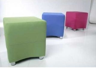 Three Mojo Reception Cuboid Stools In Green, Blue And Pink