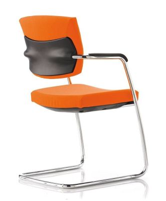 Sprint Orange Cantilevered Visitors Chair With Chrome Frame