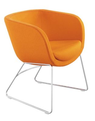 Karma Tub Visitors Chair In Orange With Sled Style Chrome Base