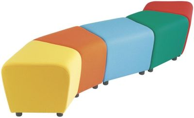 Ziz Zag Multi Coloured Seating 30degree Sections And Square With Feet