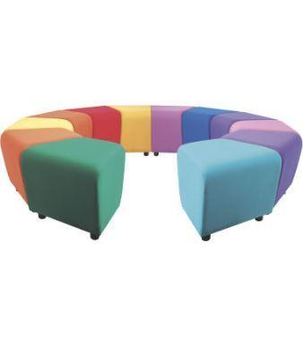 Ziz Zag School Stools In Rainbow Colours With Feet