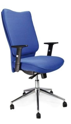 Panama Blue Upholstered Office Chair With Gas Lift Adjusters