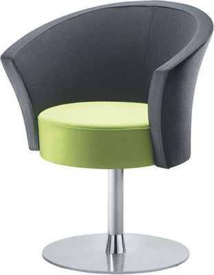 Bobbin Grey And Green Contemporary Chair With Chrome Pedestal Base