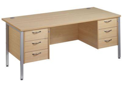 Gm H Frame Pedstal Desk With Two Three Darwer Sets