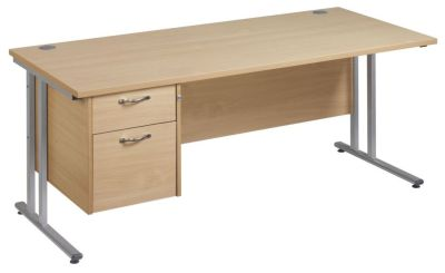 Gm Rectangular Desk And Two Drawer Suspended Pedestal
