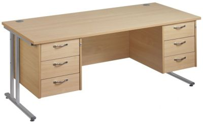 Gm Rectangular Desk With Two Sets Of Three Drawers