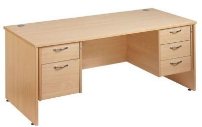Gm Double Pedestal Desk With Two And Three Drawer Sets