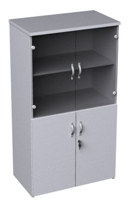 Duplex Mid Height White Combination Cupboard With Glass Doors