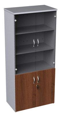 Duplex Tall Combination Cupboard With Glass And Walnut Doors