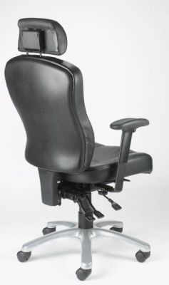Zado Black Leather Ergonomic Chair With Adjustable Headrest And Neck Support