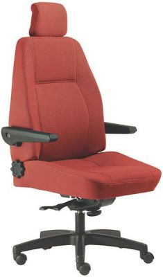 Delta Red Upholstered Operators Chair With Large Moulded Foam Back And Seat, Folding Adjustable Arms And Back Angle Adjusting Wheel On Black Base
