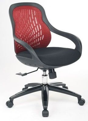 Croft Modern Style Mesh Computer Chair With Red Mesh Back, Black Fabric Seat And Black Moulded Arms