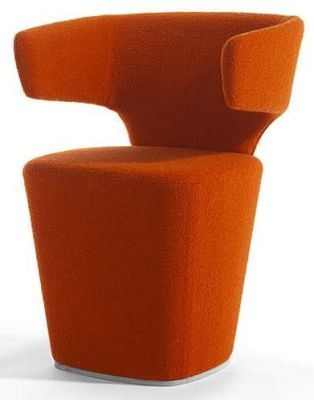 Bison Unique Design Tub Chair In Orange Fabric
