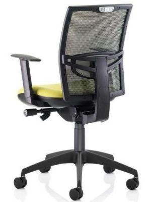 Refresh Office Task Chair With Black Breathable Mesh Back, Lumbar Support And Armrests On Swivel Base