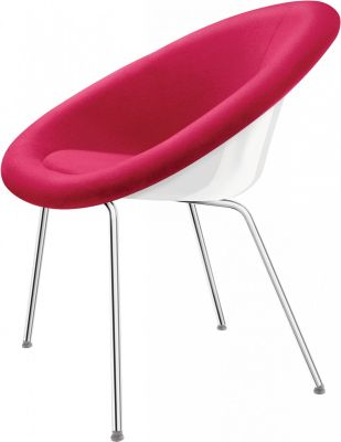 Gloss Designer Conference Chair In Pink With White Shell And Chrome Four Leg Frame