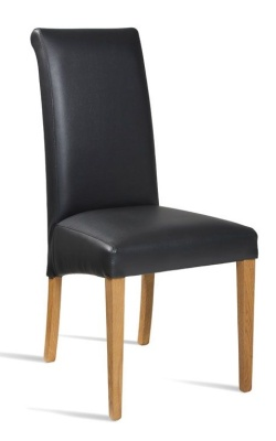 Turin Black Leather Dining Chair