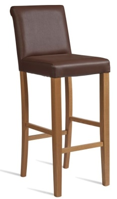 Turin High Stool Brown Leather