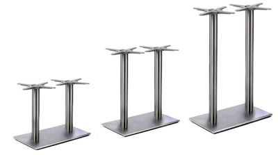 Valio Twin Brushed Stainless Steel Table Bases