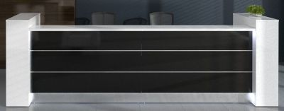 Valde Straight Reception Desk With Storage Columns And Black Front