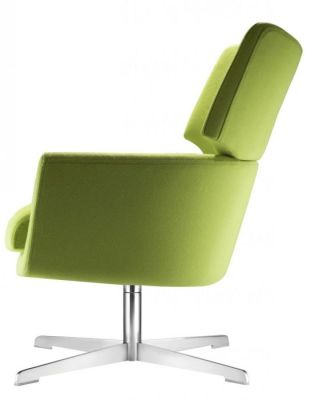 Kala Luxury Swivel Chair With Green Upholstery And Silver Finish 4 Star Base
