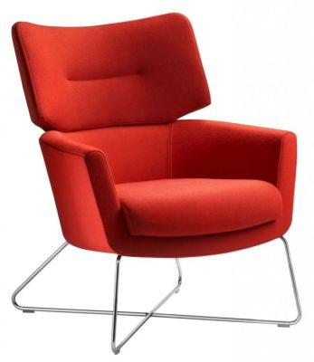 Kala Visitor Chair In Red Upholstery With Chrome Wire Base