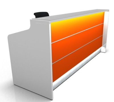 Valde Straight Reception Desk With Illuminated High Gloss Orange Front Side View